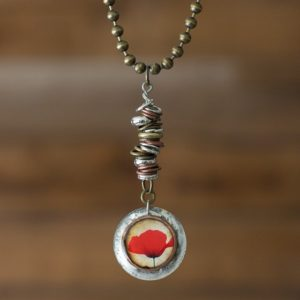 Beautiful Open Poppy Necklace, One of a Kind and Handmade
