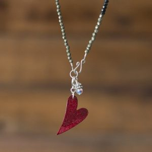 Red Enameled Heart Necklace